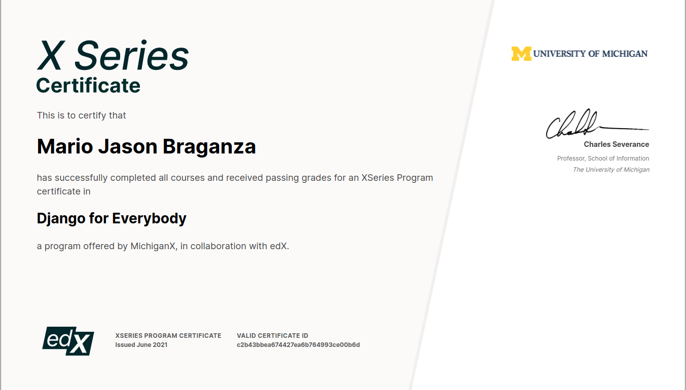 Picture of my certificate, passing the Django Course
