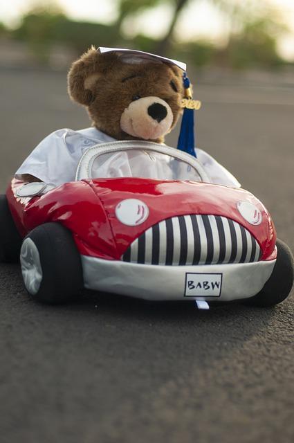 toy teddy bear in a toy car